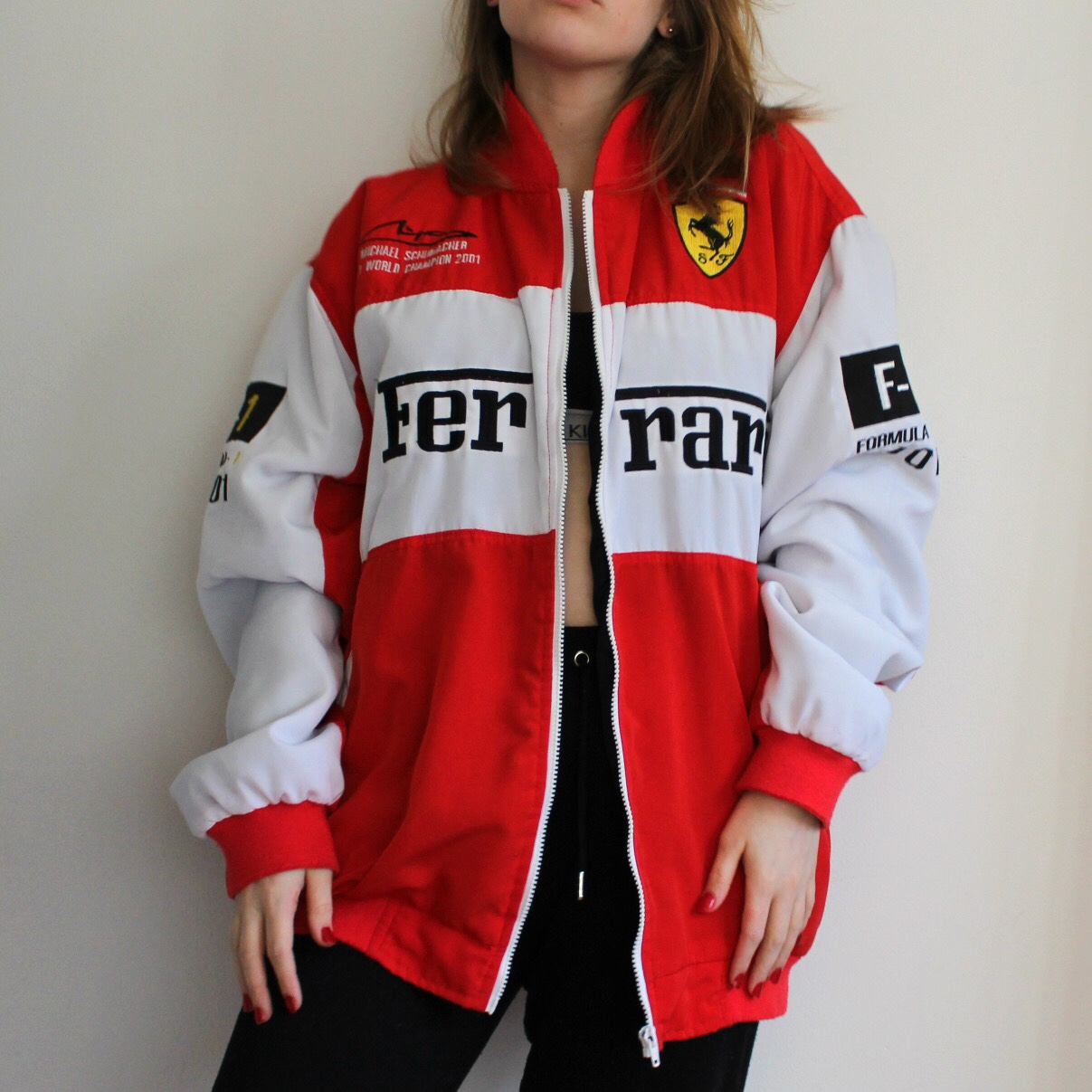 Red and white Ferrari jacket. Great condition, size , Depop