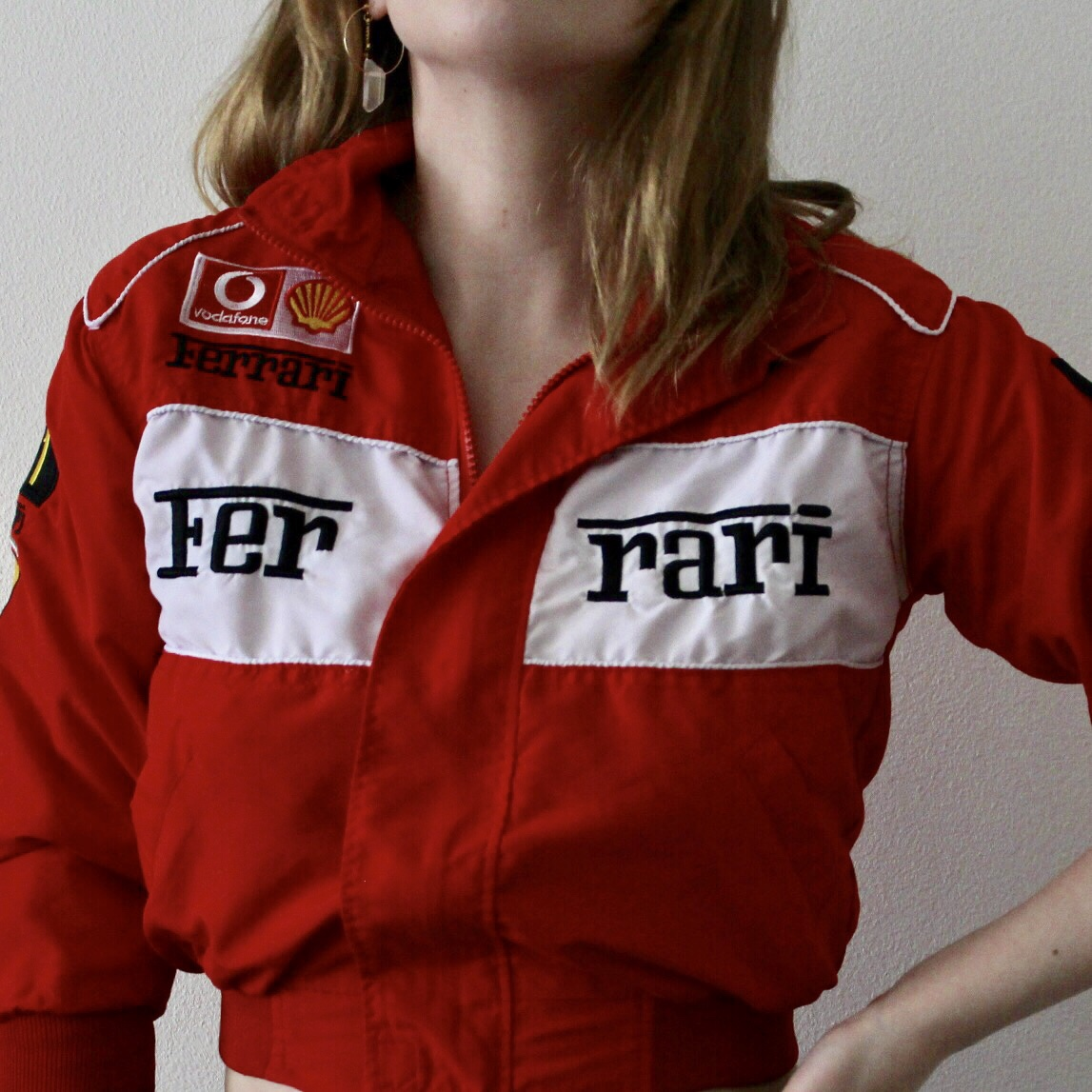 Red and white ferrari jacket, childrens size but , Depop