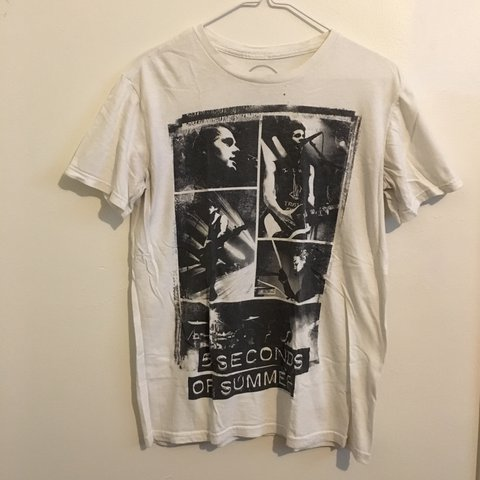 1b3375034d74 5SOS black   white collages shirt  has been worn. my 5SOS on - Depop
