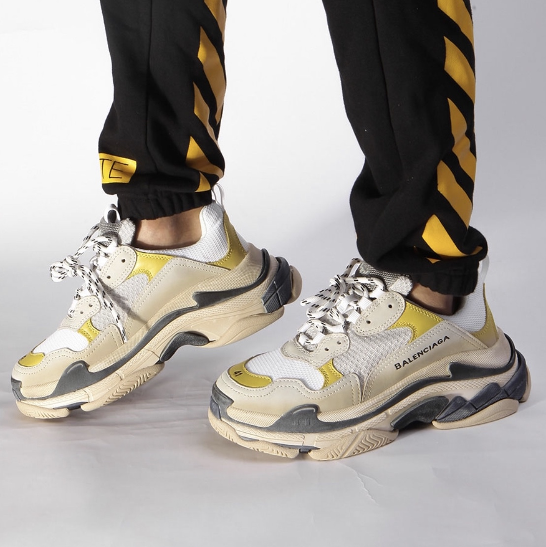 Balenciaga Grey Blue Triple S Sneakers SSENSE