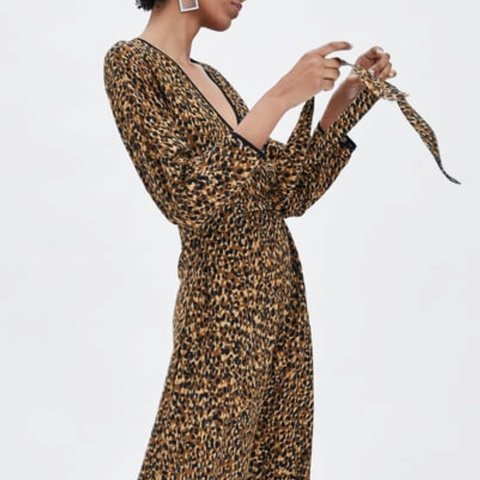 e3375eaf591c @issiefuller. 6 months ago. London, United Kingdom. Zara Leopard Print Long  Maxi Dress Wrap ...