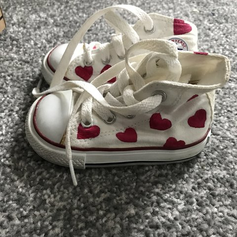 fb4295cff69d Baby girl converse high tops drawn hearts on. Size UK kids - Depop