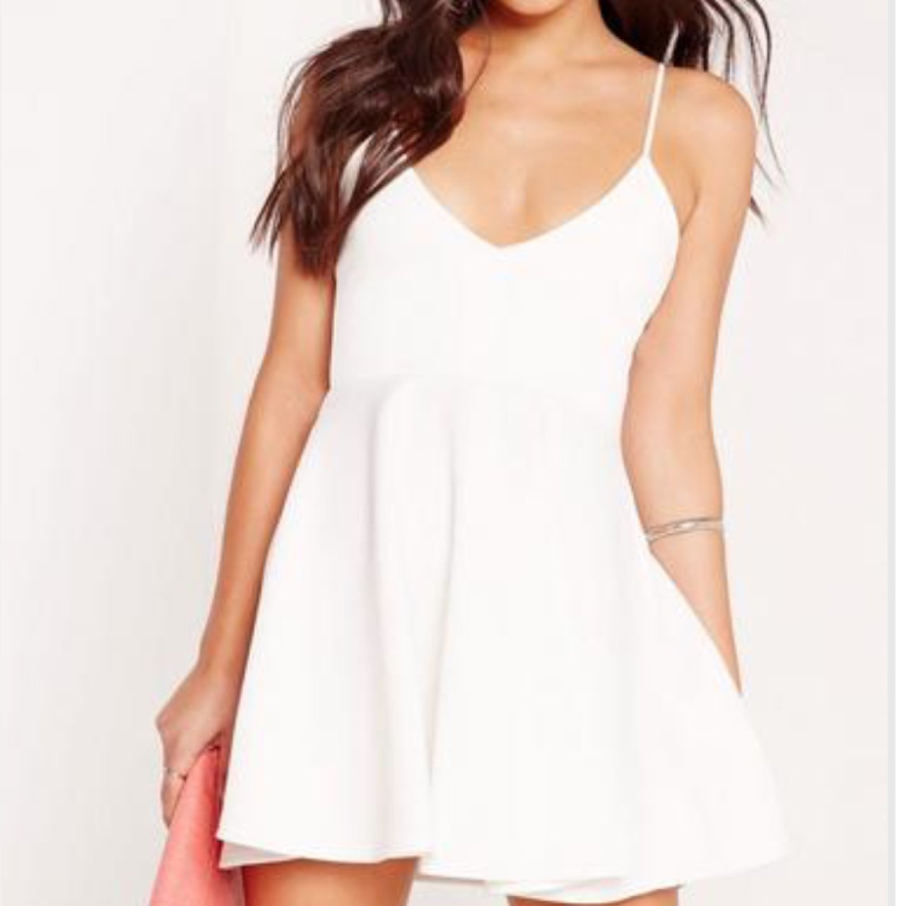 babf89f34e4f Missguided White Strappy Plunge Skater Dress • Size 6 but an - Depop