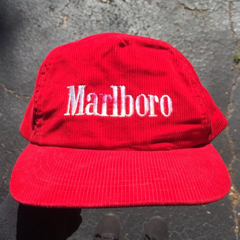 Vintage Marlboro corduroy snapback hat! Red with white text - Depop 51f149f8aa8