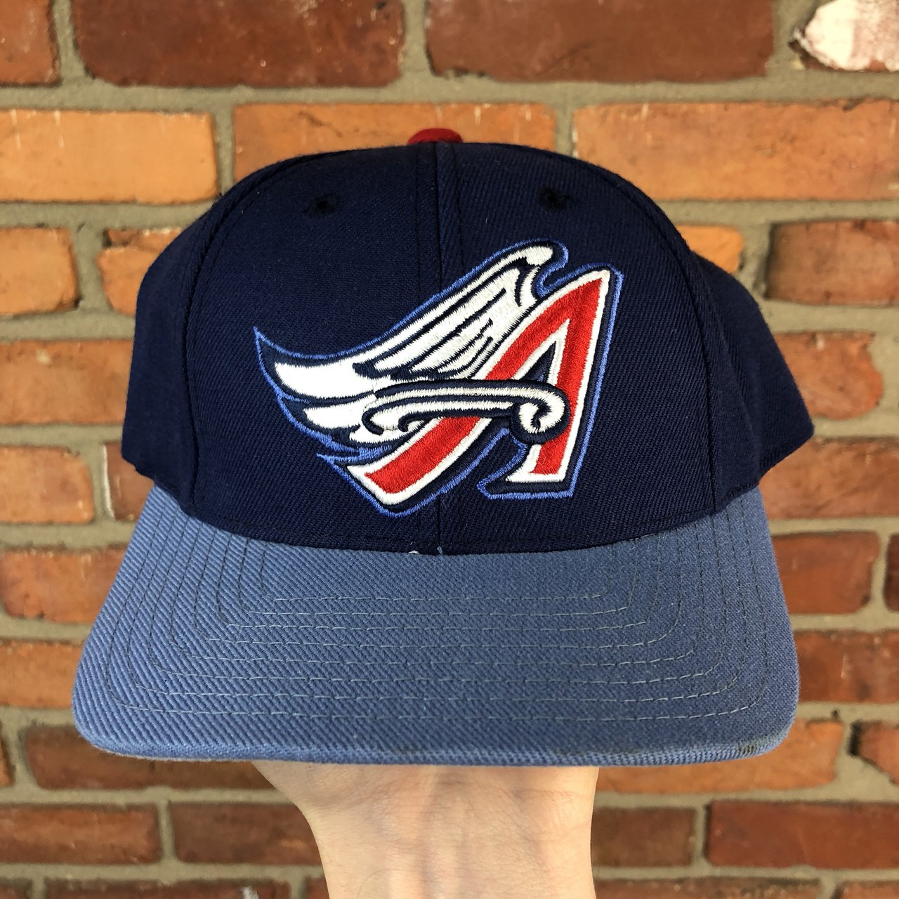 3110e2f47a0 Vintage 1990s Anaheim Angels MLB Baseball Snapback Athletic - Depop