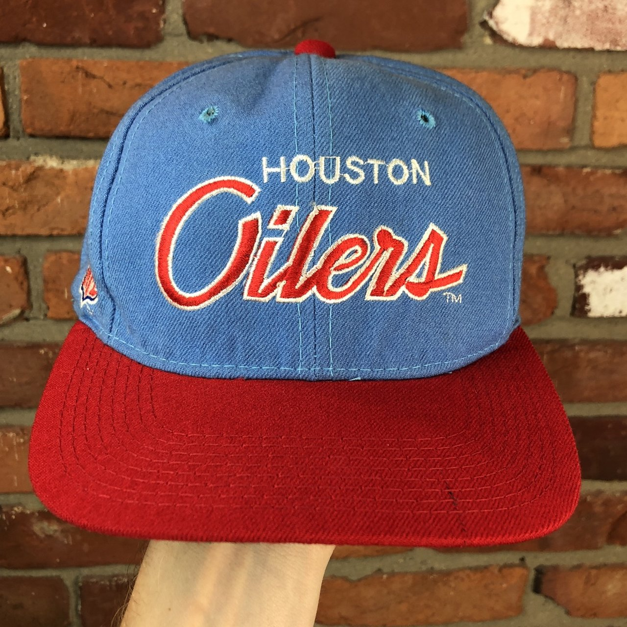 fa3045f573c Vintage HOUSTON OILERS Sports Specialties Script Fitted 100% - Depop
