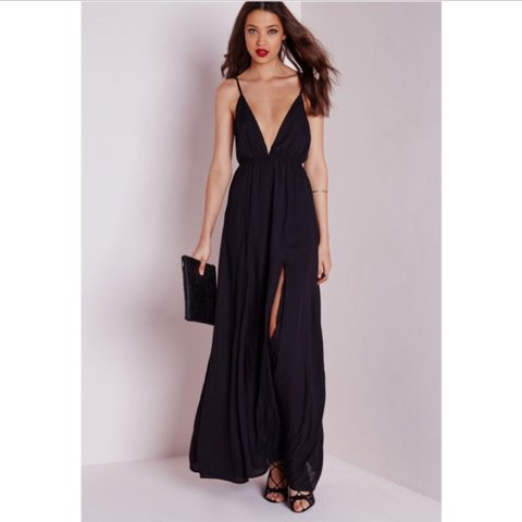 3f76bb11971b Missguided black maxi dress with low plunge front and split