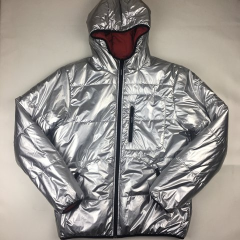 5720d3d36e4b Exclusive SUPREME reversible hooded puffy jacket - silver - - Depop