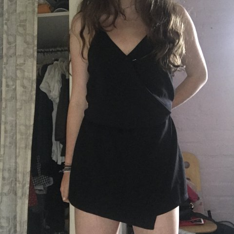 ee0cac04dfa6 urban outfitters black wrap romper- for fancy or casual than - Depop