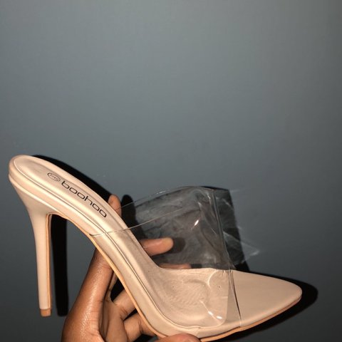 68db17b0dc cybermonday Nude Pointed Toe Clear Mule Heels Worn once in - Depop