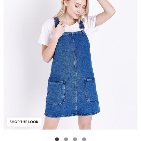 eed67f750 New look denim pinafore dress Not petite one I bought! Size - Depop