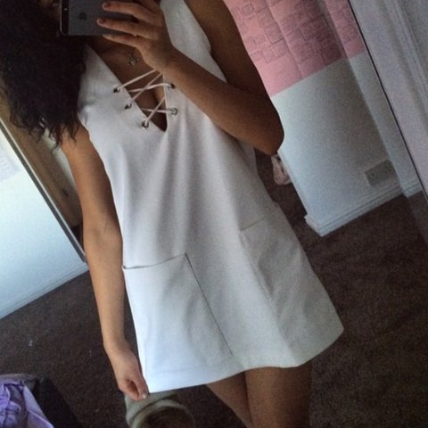 6391be61 @marniebyfield. 3 years ago. Annfield Plain, County Durham, UK. Size small  Zara white lace up dress with pocket ...