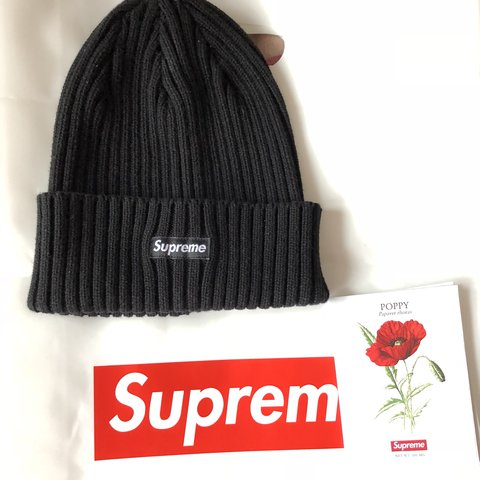 2a804fa6796 Supreme SS18 overdyed ribbage beanie Black One Size Only out - Depop