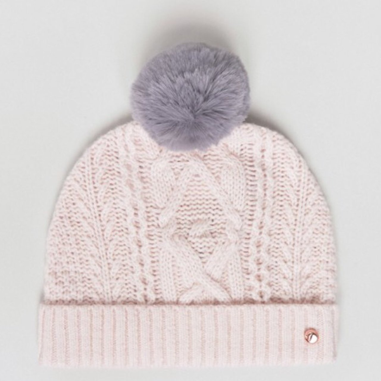 Ted Baker cable knit bobble hat. Pink  grey. Brand new with - Depop f6411a0b481