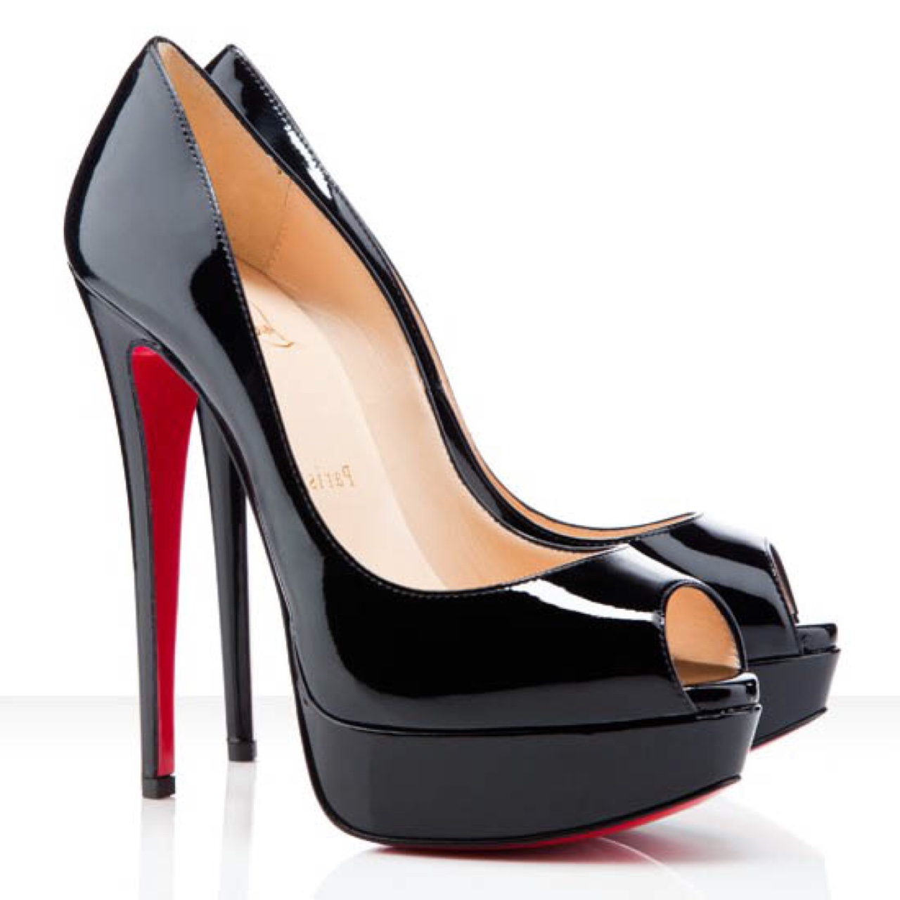 huge selection of ae9cd ead32 CHRISTIAN LOUBOUTIN Lady Peep Patent leather 150mm ...