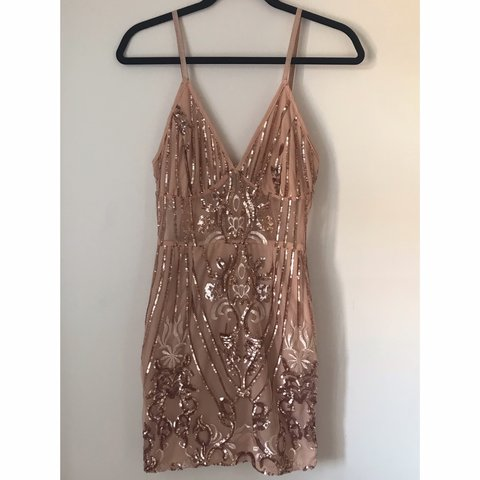 4b33979a @kathrynhircombe. 3 months ago. Stanmore, United Kingdom.  👗PrettyLittleThing Rose Gold Strappy Sheer Panel Sequin Bodycon Dress