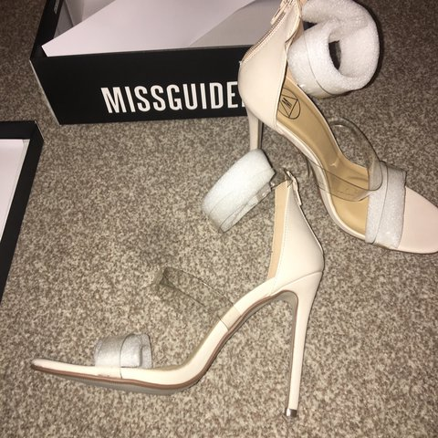 5e3c09e927 Women's size 5 Missguided perspex strap barely there nude in - Depop