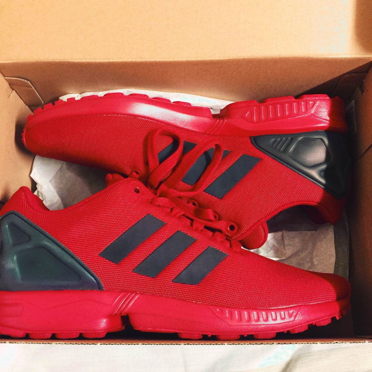 the best attitude c0882 12a0e Size 8 1/2 adidas originals zx flux red Haven't worn - Depop