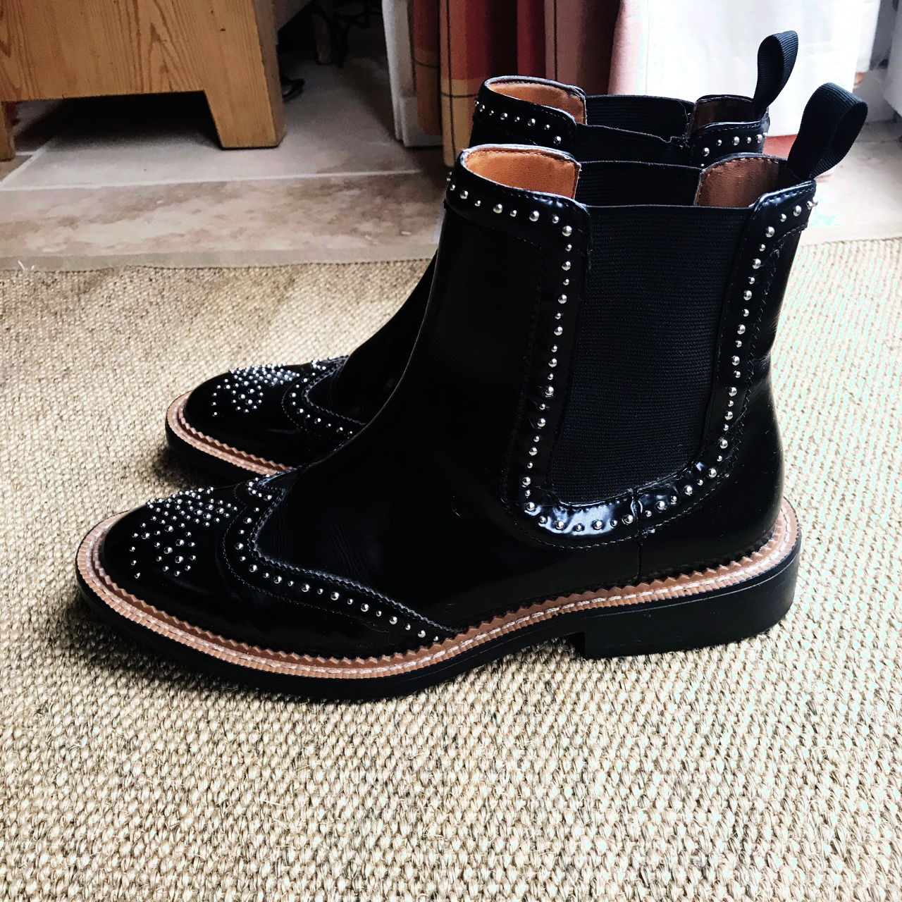 ZARA studded black ankle boots. Only