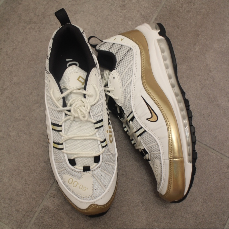 """pretty nice 5a92e b567d Nike Air Max 98 UK Hyperlocal """"GMT"""" Pack • Gold and ..."""