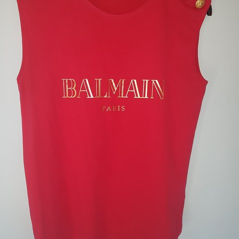 efdef995b78523 Balmain red top - size 38 (size 10 UK) however would fit due - Depop
