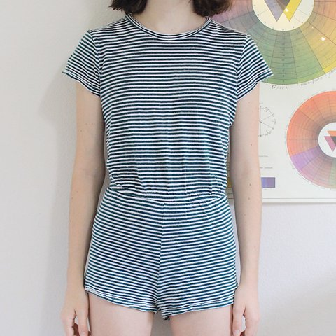 d2fd062ee9a 🌿striped american apparel romper🌿 this green vintage style - Depop