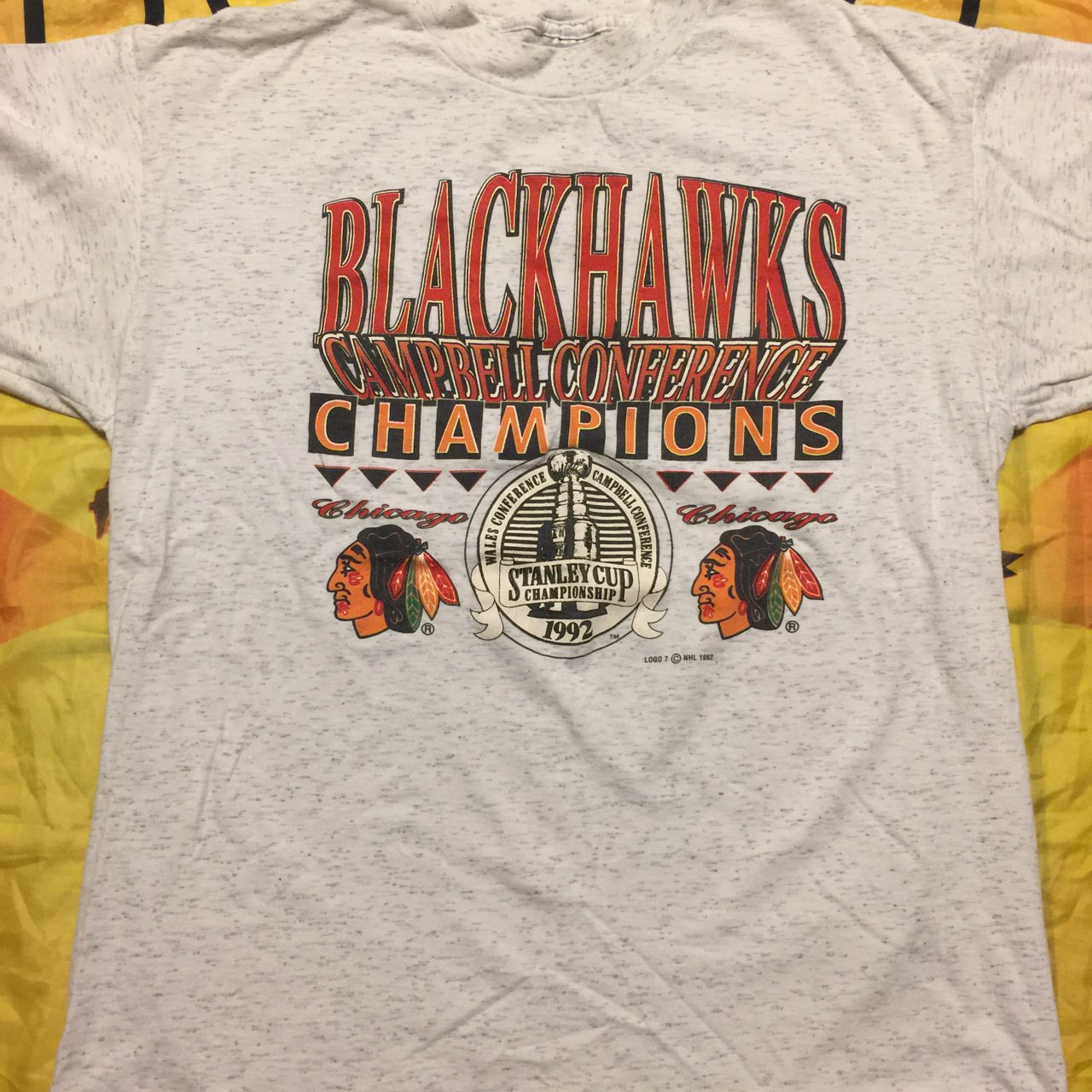 Vintage Chicago Blackhawks shirt from 1992 Size 9 10 Free - Depop 6d27f4780