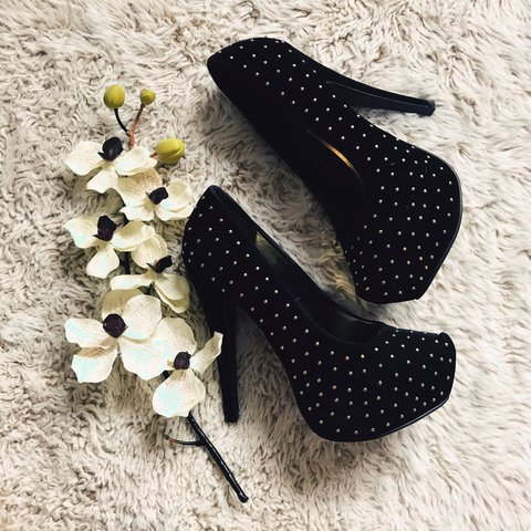 b0b09d598709 Black studded Atmosphere heels. Velvet feel with gold studs. - Depop