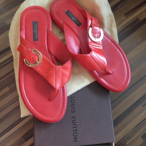 42671e617a22f Selling 100% authentic Louis Vuitton red flip flops