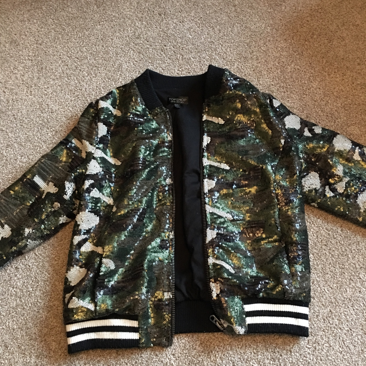 5a561e156bbed @frey2003. last year. Andover, United Kingdom. Topshop army sequin bomber  jacket !!!