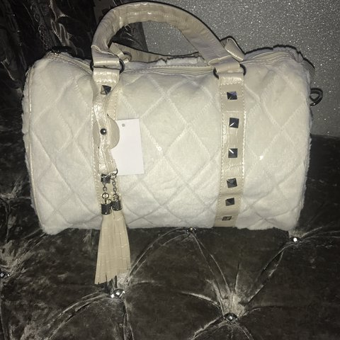 b9c56f836e Cream fur and sequins small duffle bag