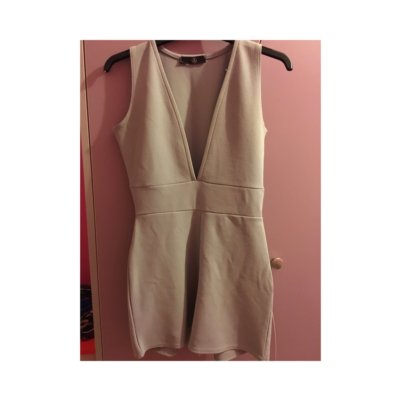bbe812eaed Missguided grey plunge front playsuit. Only worn once. Size - Depop