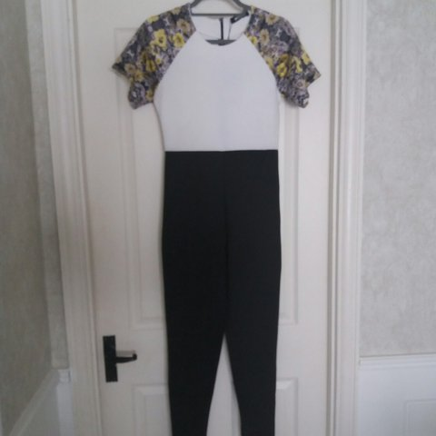 0101539dab Missguided black and white scuba jumpsuit Brand new with a - Depop