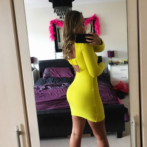8d9d82fb3e Yellow ribbed long sleeve dress New from Missguided Size - - Depop
