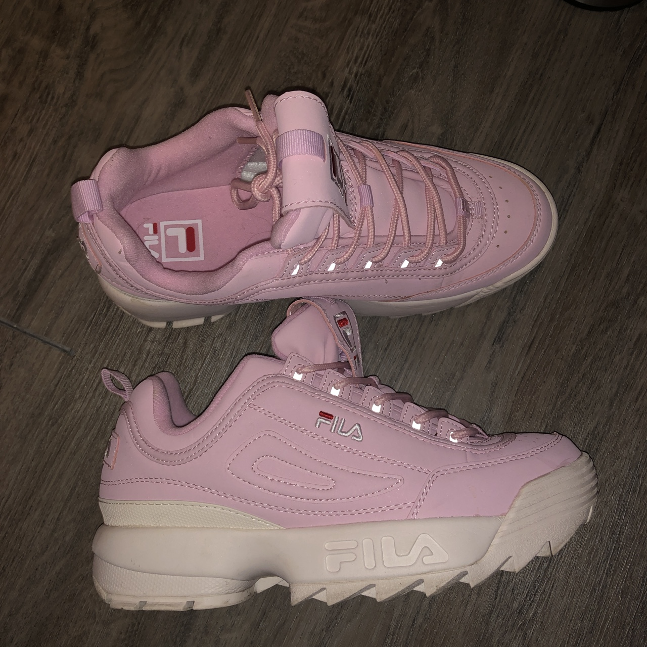 Fila Disruptors II baby pale pink and white. Fab Depop