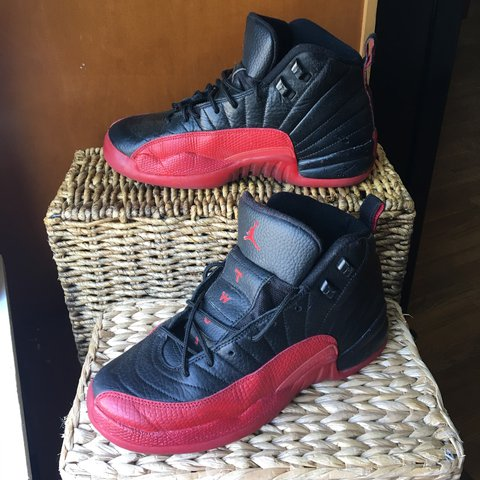 new concept 4984d 414cb  simplyjenny13. 2 years ago. Taunton, United States. NIKE AIR JORDAN 12 XII  RETRO BG FLU GAME BLACK VARSITY RED BRED ...