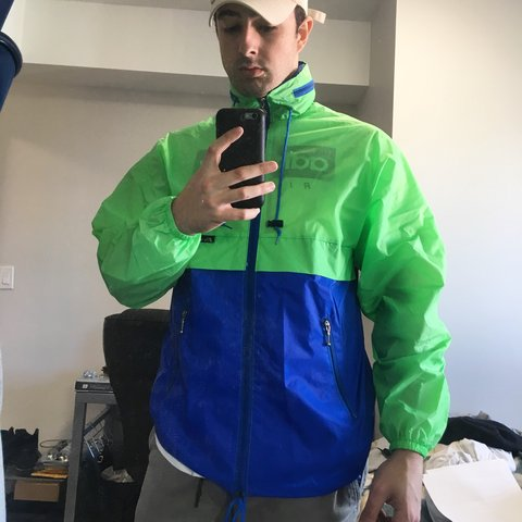 2affa98c9301 Lime green blue vintage K-Way packable windbreaker with a is - Depop