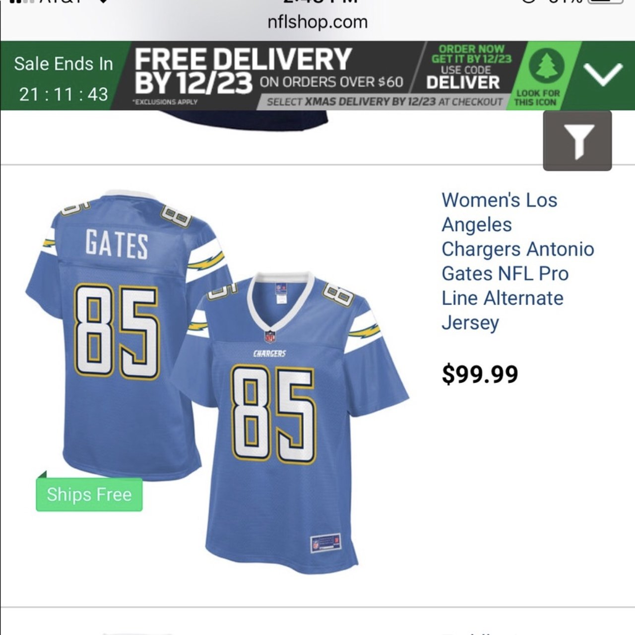 authentic antonio gates nfl chargers womens jersey worn - Depop 1381ef751