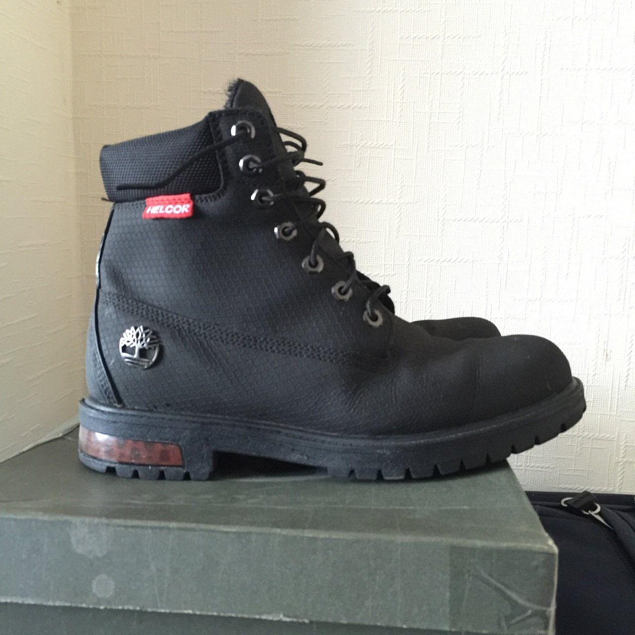 Black timberland Helcor AF scuff proof boot.