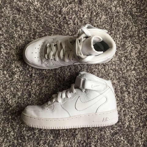 7599dd9807dcc @kimlondres. 2 years ago. Hexham, United Kingdom. NIKE AIR FORCE 1 MID in White  Leather