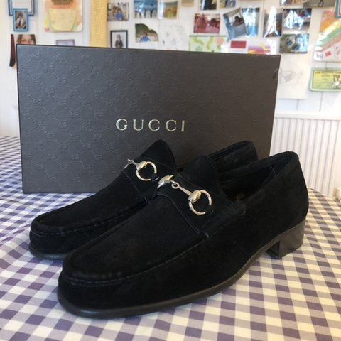 Black Suede Gucci Loafers Uk 9 9 10 Condition Box Depop
