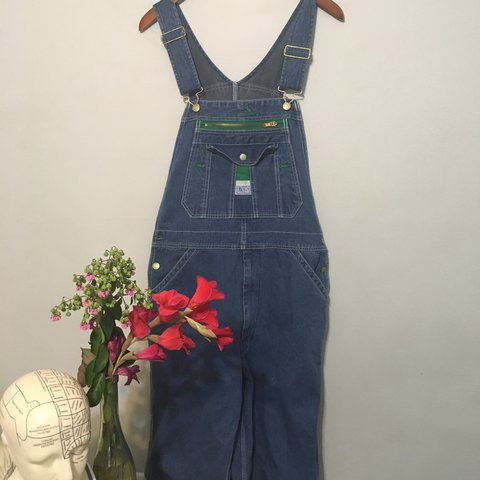 227b9e5f230 Large blue denim dungarees overalls ! Only worn twice ! cute - Depop