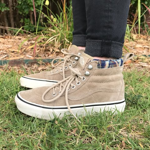 Vans Sk8 Hi size womens 6 and size mens 4.5 They are suede a - Depop 8da575e0e