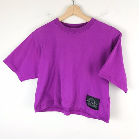 192a1c17 @skyethrift. in 4 hours. Wilson, United States. Champion made in USA  women's purple crop top cotton T-shirt ...