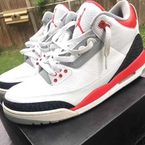 67ef15c86f69dd Brand  Air Jordan Retro III Color Way  White Fire Of August - Depop