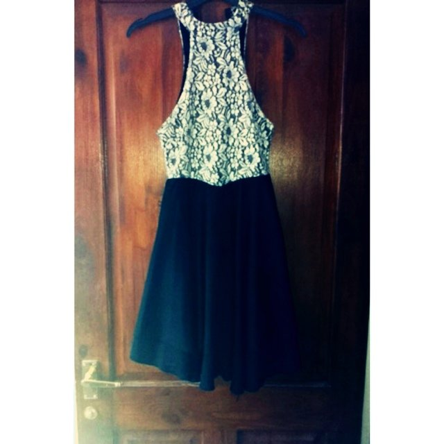 d7e4d6ce81 @jas94. 5 years ago. Saffron Walden, United Kingdom. Missguided size 8 dress  - black and white lace top half & bottom black skater ...