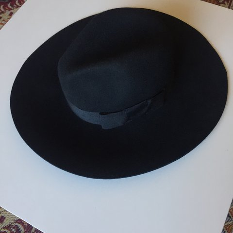 🕶 Brixton  Dalila  Black Wool full brim hat - excellent - - Depop be457f59c76
