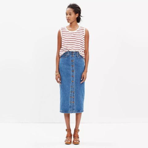 47add7b52f @hungrybunnyshop. 2 years ago. San Francisco, United States. Madewell  button down Denim pencil skirt jeans high waisted