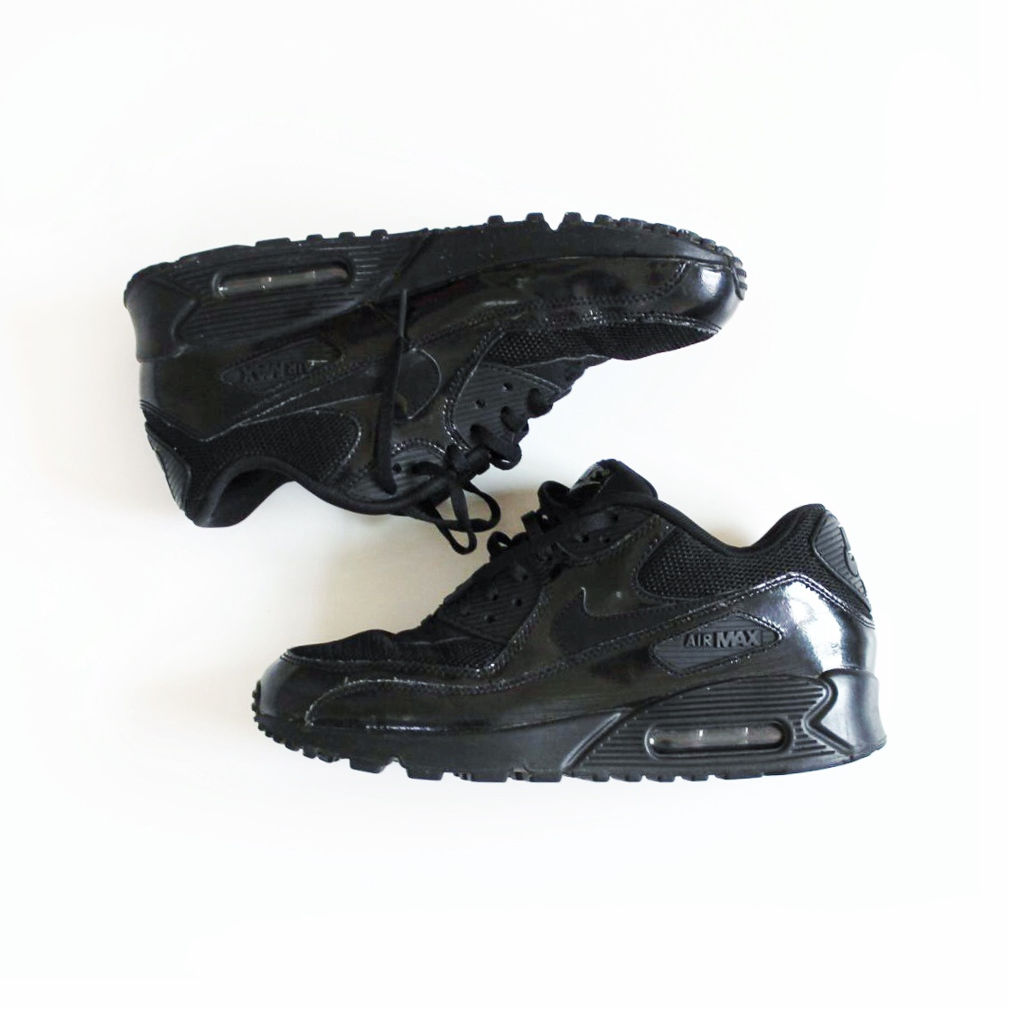 ON HOLD , Nike Air Max 90 in triple black patent...