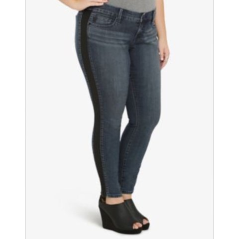 91ea2a8176 TORRID ankle skinny jeans with faux leather sides. Size 12